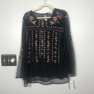STYLE & CO WOMAN Sheer Embroidered Blouse, Size 1X